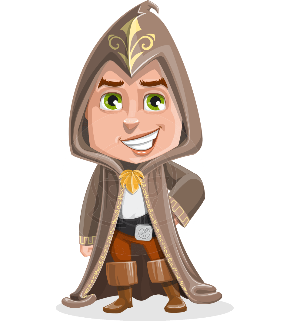 Young Wizard Boy Cartoon Vector Character AKA Ezra the Mage