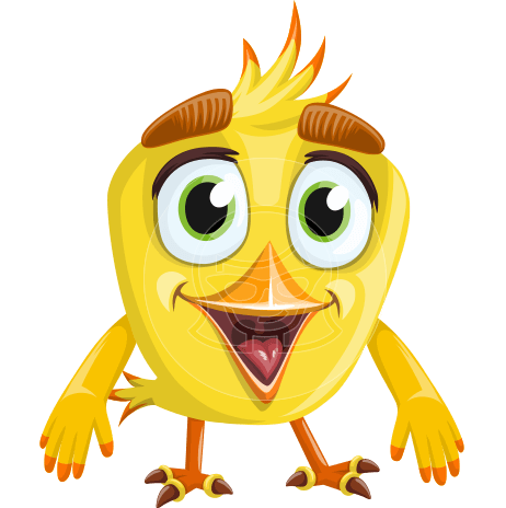 Simple Style Bird Cartoon Vector Character AKA Birdy Eyebrows