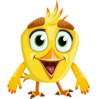 Simple Style Bird Cartoon Vector Character AKA Birdy Eyebrows
