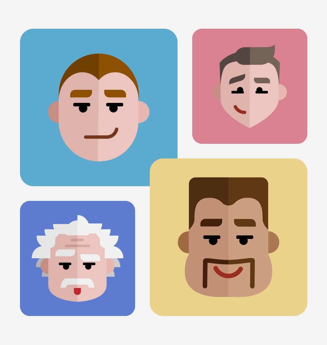 Flat Avatars Set: Males
