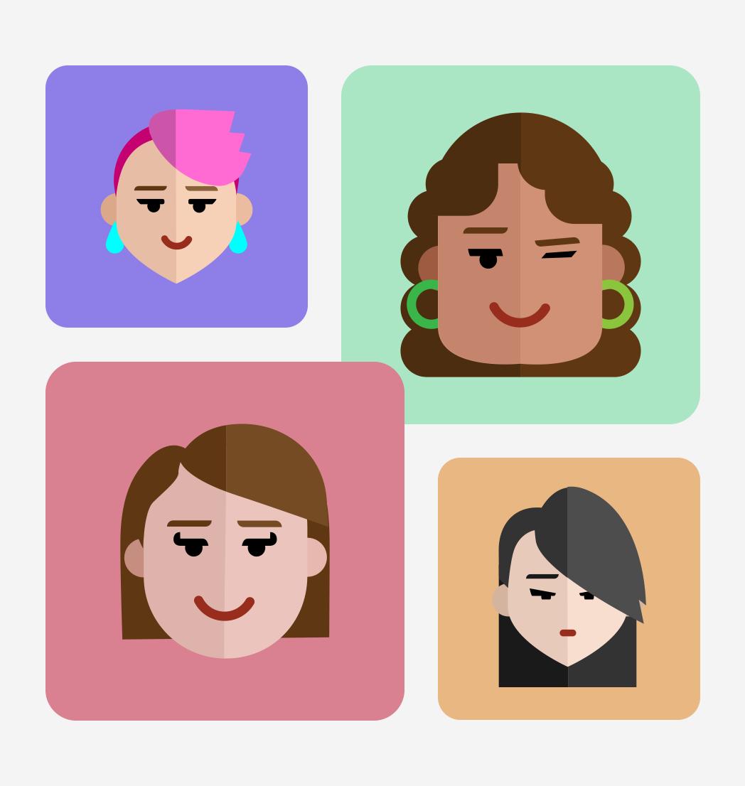 Flat Avatars Set: Females