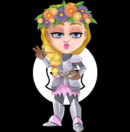 Pretty Blonde Knight Girl Cartoon Vector Character AKA Flora Кnightmaiden