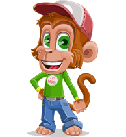 Cute Chimpanzee Monkey Vector Cartoon Character AKA Bo Nobo