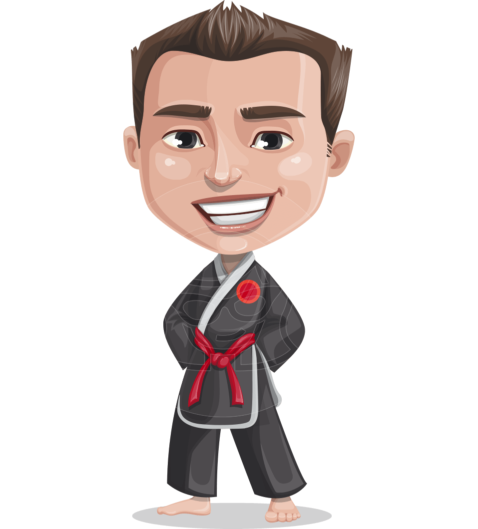 Chinese Karate Man Cartoon Vector Character AKA John Li