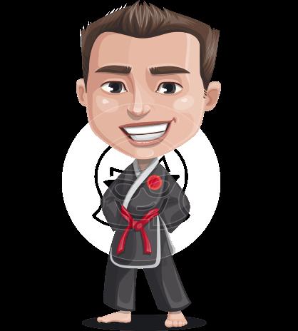 Chinese Karate Man Cartoon Vector Character AKA John Li