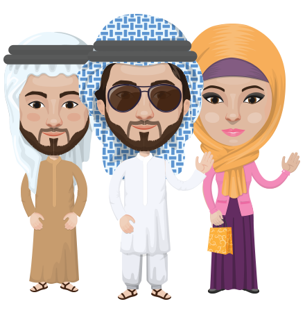 Arabian vector graphics - creation kit - Make your own arab/muslim avatar using a rich collection of clothes, costumes, eyes, hairs and accessories