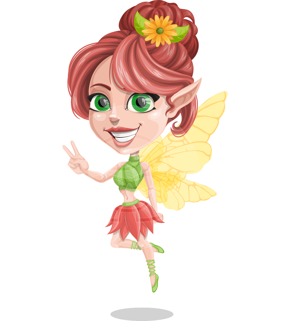 Cute Fairy Vector Cartoon Character AKA Frida the Flower Fairy
