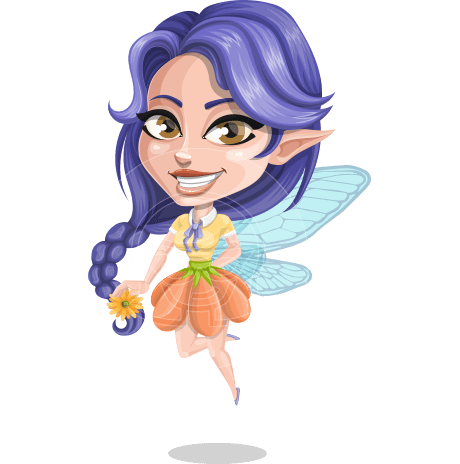 Fairy with Wings Vector Cartoon Character AKA Linda the Whimsical Fairy