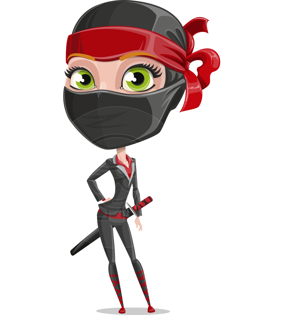 Ninja Woman Cartoon Vector Character AKA Aina