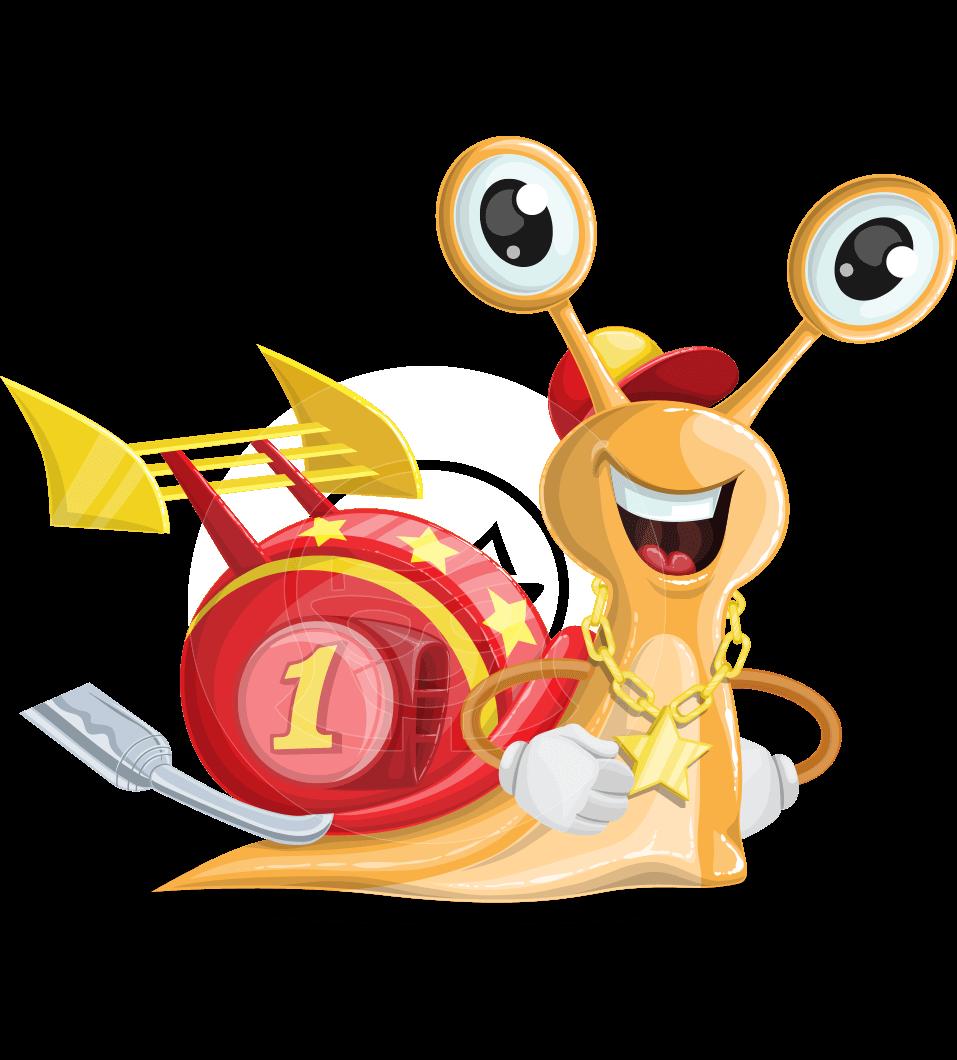 Racer Snail Cartoon Vector Character AKA Mr. Speedy