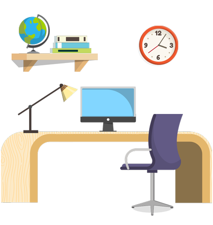 Make your own Office - creation kit - vector graphics, elements and parts - backgrounds, different interior styles, accessories, furniture, colors, plants, decoration, tech equipment