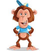 Macaque Monkey With T-Shirt and a Hat Cartoon Vector Character AKA Ron K