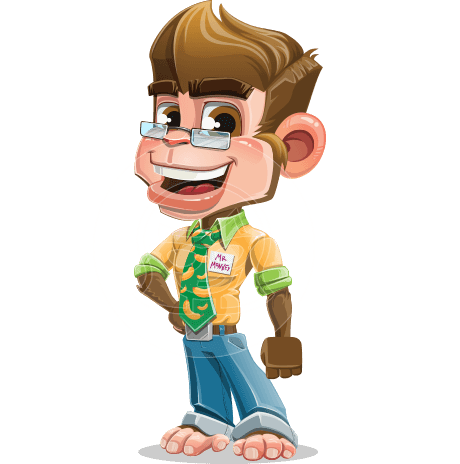 Business Monkey Cartoon Vector Character AKA Mr. Monkey Bananas