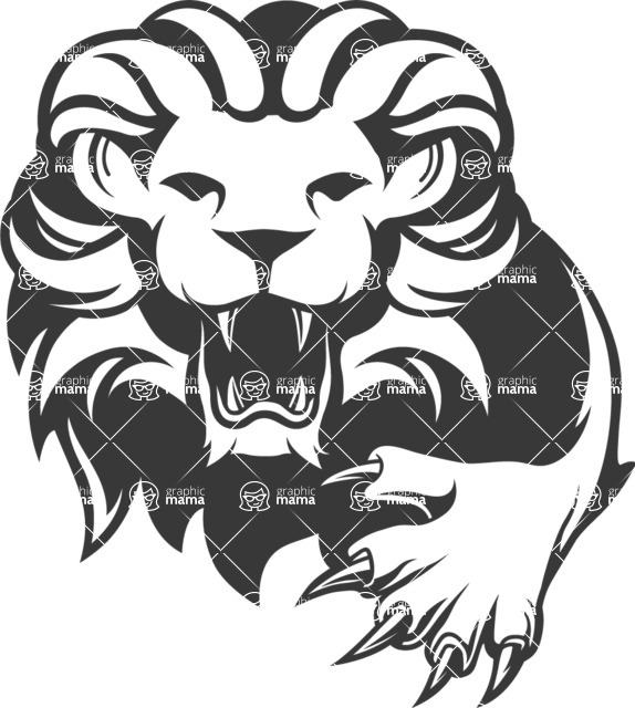Vector Mascot Collection - Black and White Lion Mascot Logo
