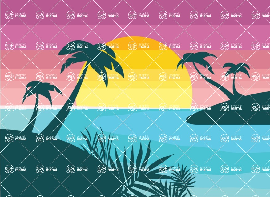Nature Backgrounds, Patterns and Frames Themed Graphic Collection - Flat Sunset with sea Landscape Vector Background