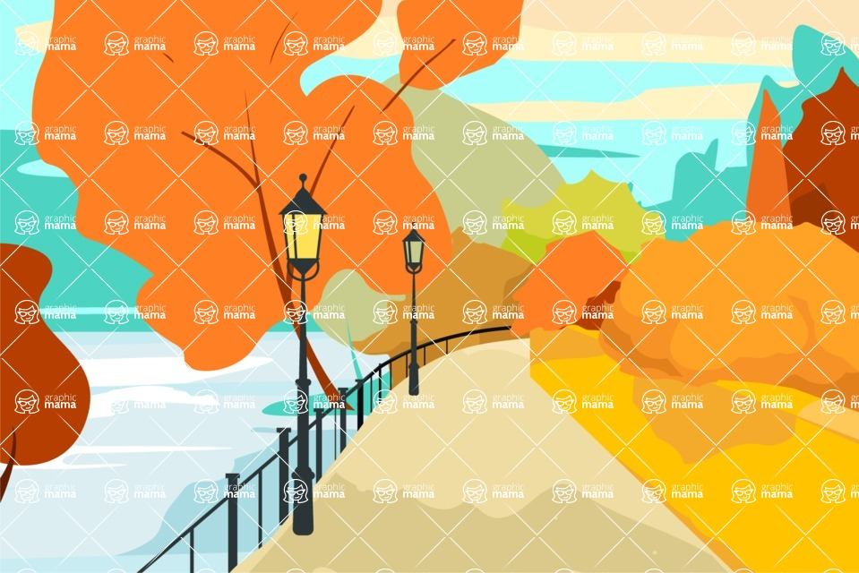 Nature Backgrounds, Patterns and Frames Themed Graphic Collection - Autumn City Park Vector Background