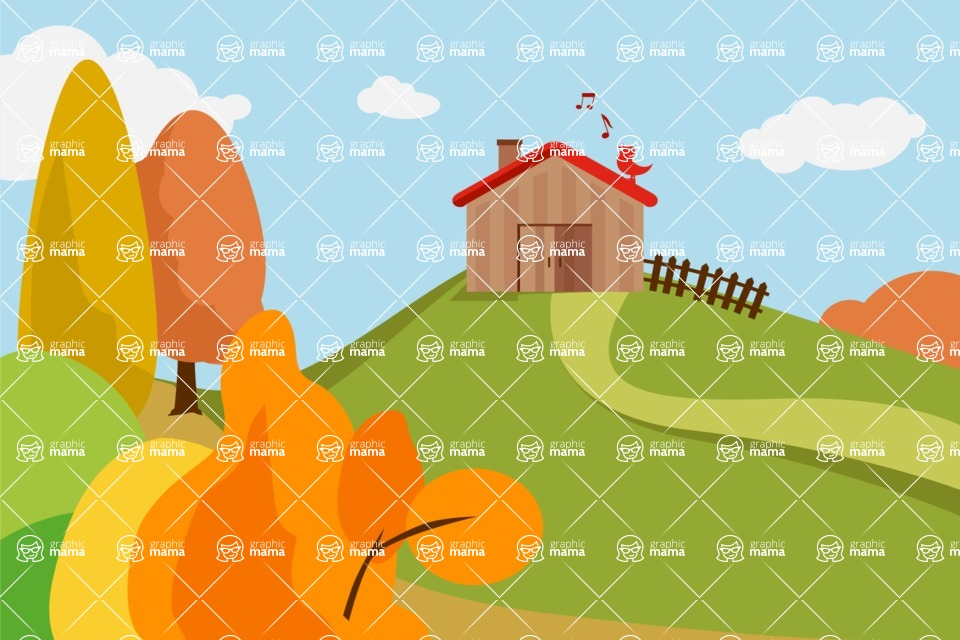 Nature Backgrounds, Patterns and Frames Themed Graphic Collection - Beautiful Farm and Fields Background