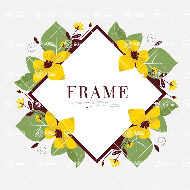 Nature Backgrounds, Patterns and Frames Themed Graphic Collection - Beautiful Flowers Natural Vector Frame