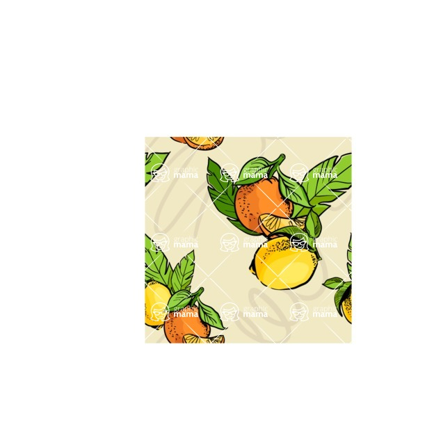Nature Backgrounds, Patterns and Frames Themed Graphic Collection - Citrus Fruits Pattern