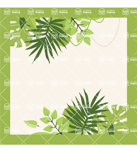 Nature Backgrounds, Patterns and Frames Themed Graphic Collection - Design of Green Floral Frame