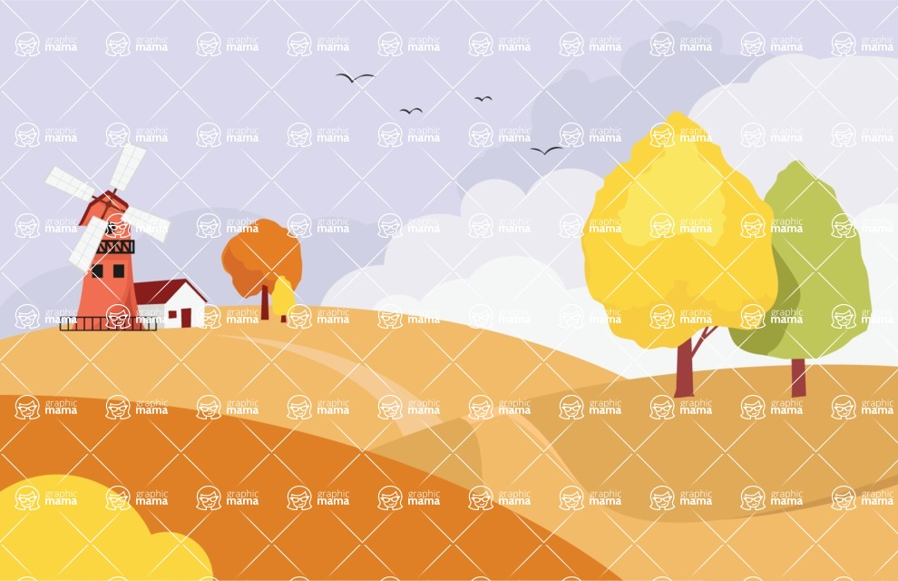 Nature Backgrounds, Patterns and Frames Themed Graphic Collection - Fields with Path Landscape Background