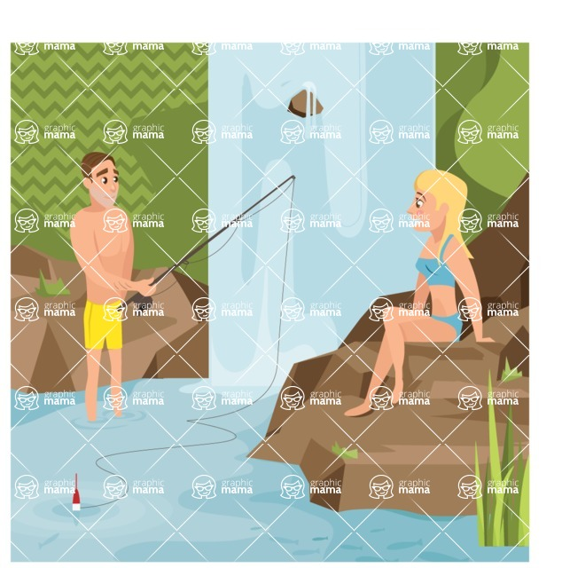 Nature Backgrounds, Patterns and Frames Themed Graphic Collection - Fishing in Wild Pond With Waterfall Illustration