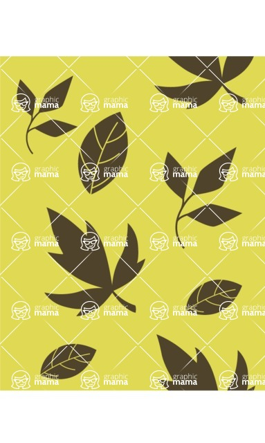 Nature Backgrounds, Patterns and Frames Themed Graphic Collection - Green Pattern with Flowers