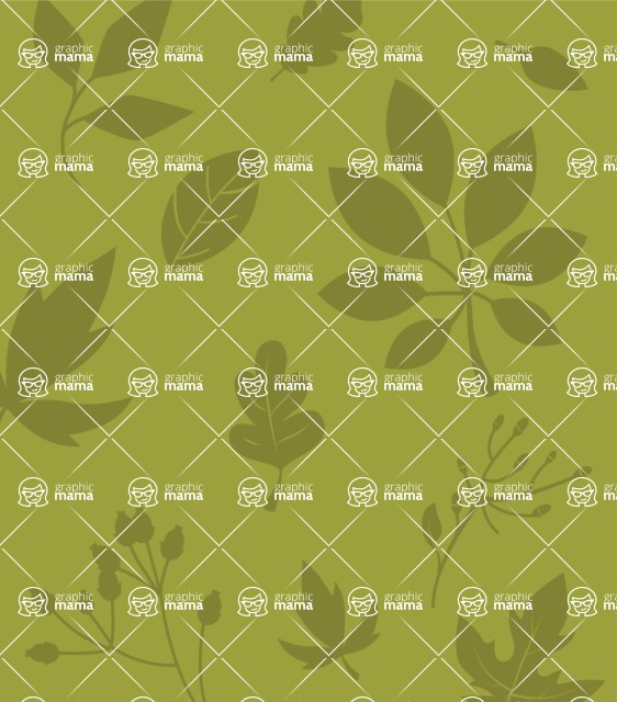 Nature Backgrounds, Patterns and Frames Themed Graphic Collection - Green Vector Background with Leaf Silhouettes