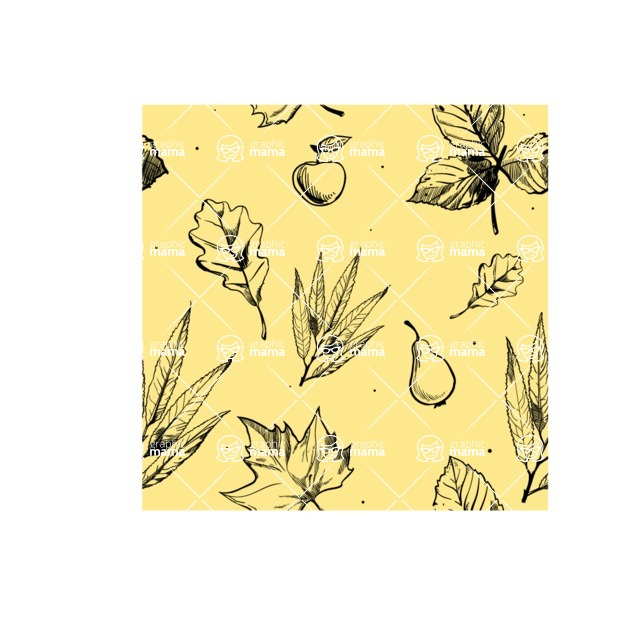 Nature Backgrounds, Patterns and Frames Themed Graphic Collection - Hand-Drawn Floral Leaves Pattern