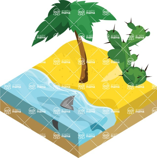 Nature Backgrounds, Patterns and Frames Themed Graphic Collection - Isometric Beach with Palm and Cactus Background