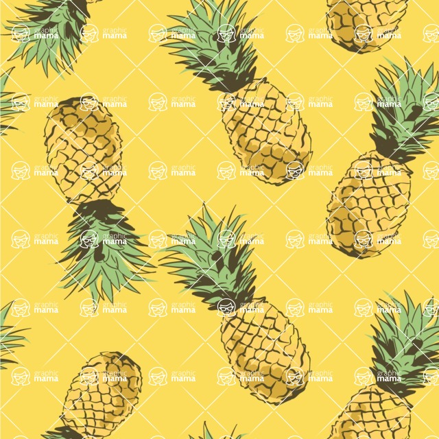 Nature Backgrounds, Patterns and Frames Themed Graphic Collection - Modern Pineapple Vector Pattern