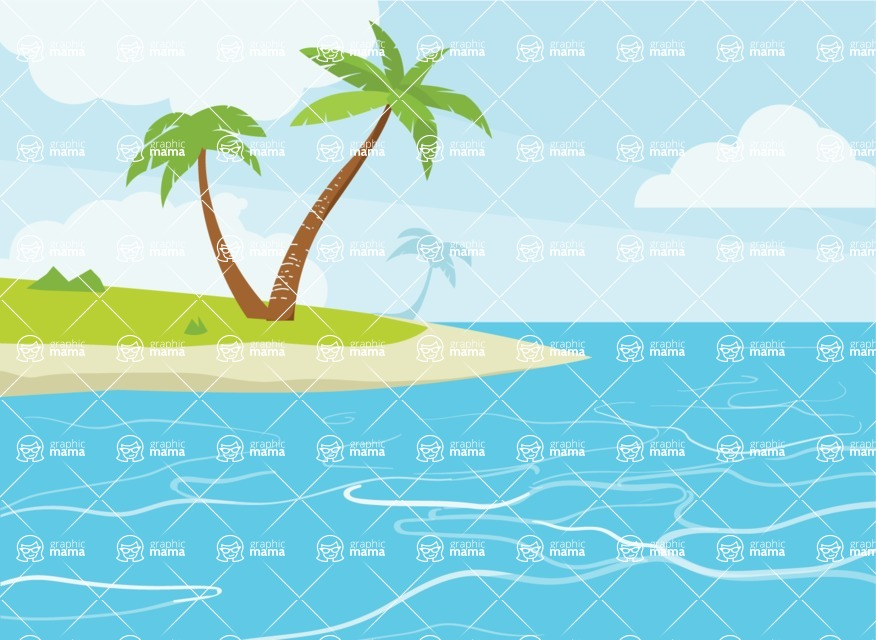Nature Backgrounds, Patterns and Frames Themed Graphic Collection - Nature Island Vector Background
