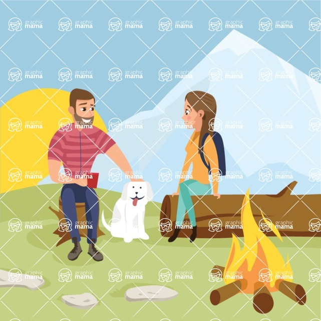 Nature Backgrounds, Patterns and Frames Themed Graphic Collection - People Camping With Campfire Vector Illustration