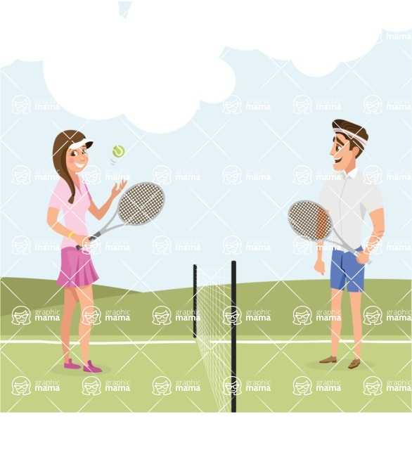Nature Backgrounds, Patterns and Frames Themed Graphic Collection - People Playing Tennis Outdoor Illustration