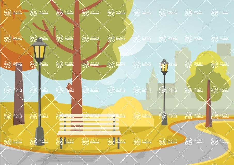 Nature Backgrounds, Patterns and Frames Themed Graphic Collection - Public Park Vector Background