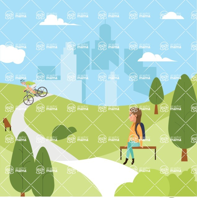 Nature Backgrounds, Patterns and Frames Themed Graphic Collection - Public Park with City Skyline Illustration
