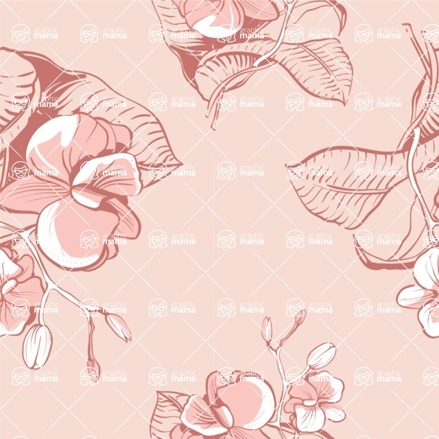 Nature Backgrounds, Patterns and Frames Themed Graphic Collection - Seamless Pattern with Roses