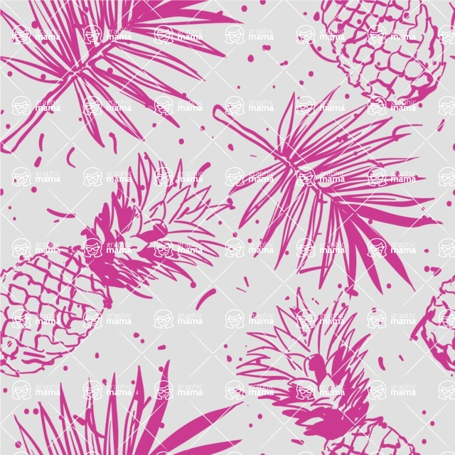 Nature Backgrounds, Patterns and Frames Themed Graphic Collection - Seamless Pineapple Pattern