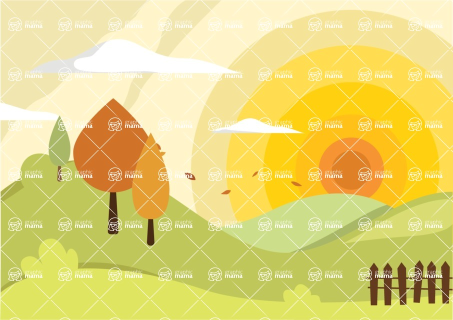 Nature Backgrounds, Patterns and Frames Themed Graphic Collection - Sunny Background with Hills, Trees, Clouds  and Fence