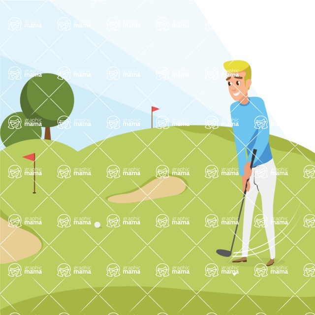 Nature Backgrounds, Patterns and Frames Themed Graphic Collection - Vector Golf Illustration with Flags, Greens and Sand Bunker