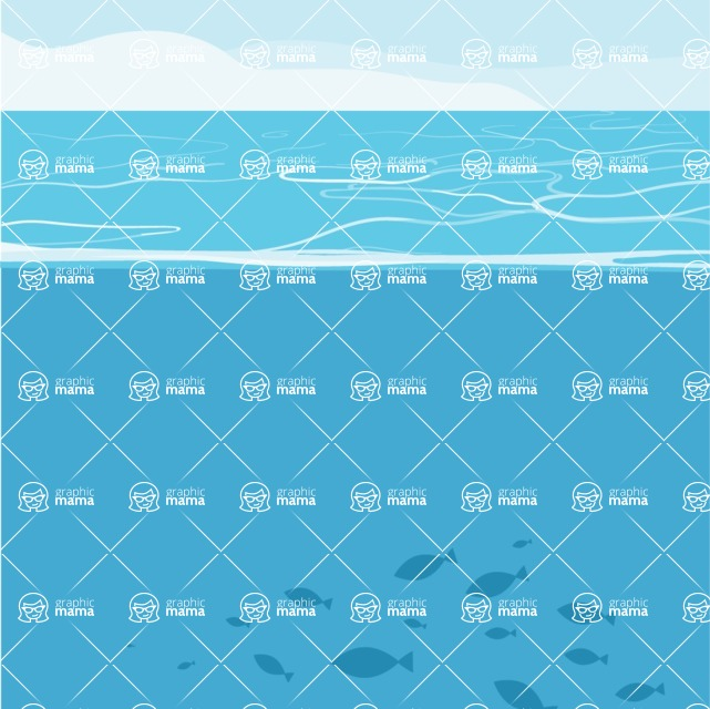 Nature Backgrounds, Patterns and Frames Themed Graphic Collection - Vector Ocean Background With Fishes