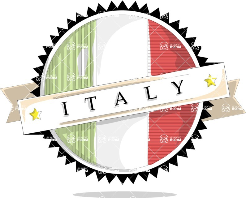 Italy Themed Graphic Collection - Italy Badge Vector Image