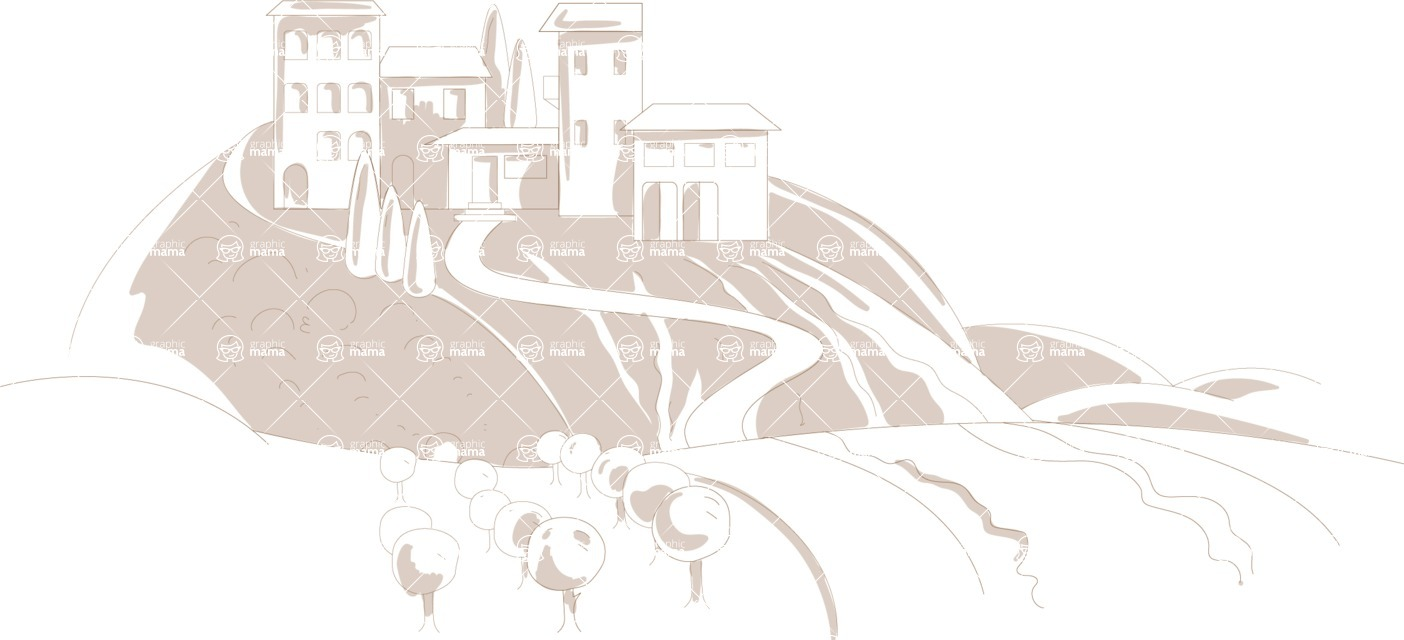 Italy Themed Graphic Collection - Italian Landscape Background in Hand Drawn Style