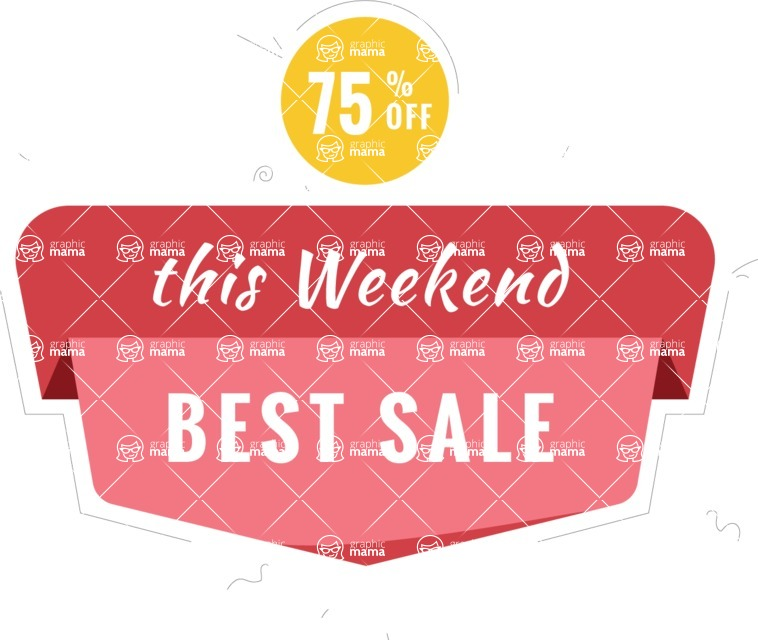 Sale Badges Vector Collection - Weekend Sale Vector Badge Design