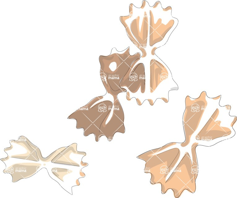 Italy Themed Graphic Collection - Farfalle Vector Clipart