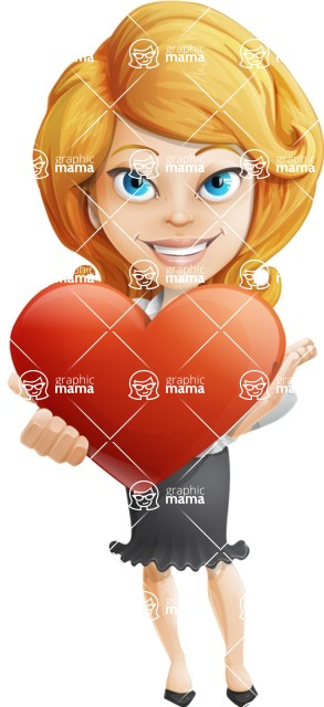 Linda Multitasking - Romantic Businesswoman With Heart Cartoon Character