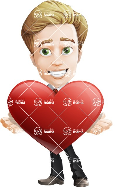 male cartoon character, elegant blond man vector - Romantic Businessman with Heart Graphic