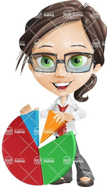 Little Business Girl Cartoon Vector Character AKA Nikki the Cute Geeky - woman vector female cartoon character design - chart pie statistics