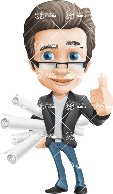 Vector Business Man Cartoon Character Design - Handsome man vector character - project paper tubes