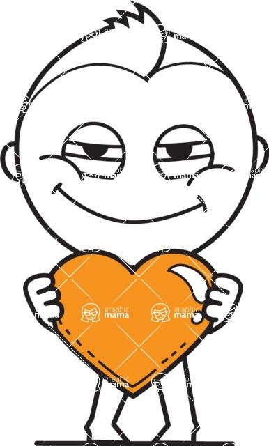 outline vector cartoon character - outline vector character design love